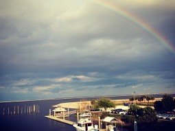 Beautiful rainbow over Pensacola Bay last night! #latergram #fishhousepensacola #atlas #downtownpensacola #rainbow