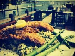 Pecan crusted grouper over cilantro and spinach rice pilaf, with grilled asparagus. #lunch #yum #fishhousepensacola #grouper #seafood