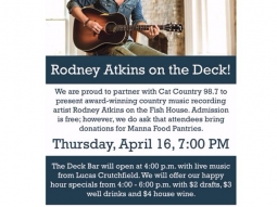 @catcountry987 presents #RodneyAtkins on @fishhousepensacola #deckbar this Thursday! Concert is free just bring 2 cans for #mannaFoodPantries. #Pensacola #florida #country #concert #upsideofflorida #downtownpensacola #visitpensacola #fishhousepensacola