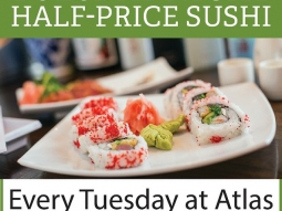It's Tuesday! You know what that means- half-price sushi at Atlas!  #sushi #atlas #halfpricesushi #pensacola #downtownpensacola