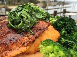 Come have lunch with us today! Our fish special today is blackened pompano over fried grit cake with a side is garlic roasted broccoli topped with sautéed arugula and finished with sun dried tomato cream! #fishhousepensacola Downtown Pensacola Visit Pensacola