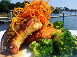 Today's special is blackened snapper over ginger fried risotto cake topped with house made meunière sauce and sweet potato hay. Served with a side of garlic roasted broccoli! #DowntownPensacola #FishhousePensacola #fishoftheday #upsideofflorida #lovefl