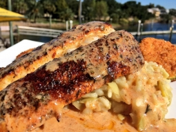 Today's special is blackened mahi over artichoke heart risotto Milanese, served with fried zucchini and finished with blackened butter!