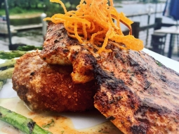 Come eat with us!!! Today's special: ?Blackened amberjack over scallop risotto cake served with grilled asparagus finished with buerre blanc sauce and sweet potato hay?!