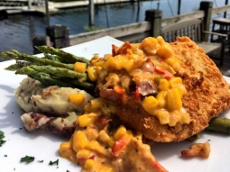 Take a break from the office- let's do lunch! Today's special: ?Chicken fried mahi over pepper jack and bacon mashed potatoes served with grilled asparagus finished with corn maque choux. ?