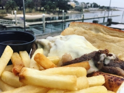 Come try today's lunch special! Cold smoked french dip sandwich on freshly baked po boy roll with swiss these and served with triple salt shoestring fries!  #downtownpensacola #fishhousepensacola #pcola #upsideofflorida