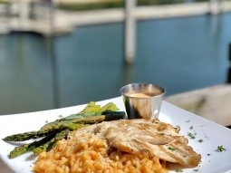 Join us for lunch at the Fish House today! Our daily special is grilled mahi over blackened shrimp risotto milanese served with grilled asparagus and finished with lobster fennel sauce and freshly grated parmesan cheese. #fishhousepensacola #downtownpensacola #upsideofflorida